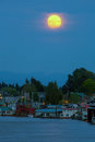 Full Moon Over Floating Homes on Columbia River in Portland Oregon Royalty Free Stock Photo