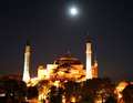 Full moon over hagia sofia a rises the in istanbul turkey Stock Image