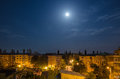 Full moon over the neighbourhood in craiova romania Stock Photography