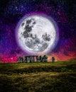 Full moon over Stonehenge, UK Royalty Free Stock Photo