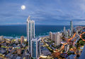 Full moon over Surfers Paradise Royalty Free Stock Images