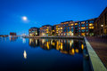 The full moon over a waterfront apartment building in Fells Poin Royalty Free Stock Photo