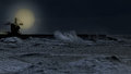 Full moon in an overcast night Royalty Free Stock Photo