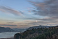 Full Moon Rising over Columbia River Gorge Royalty Free Stock Photo