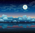 Full moon and sea on a night sky smooth starry with milky way Royalty Free Stock Photo