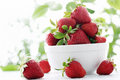 Full plate of strawberries ripe juicy berries in a bowl Stock Photo