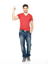 Full portrait of the happy man with good idea sign in casuals isolated on white background Stock Image