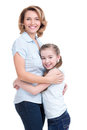 Full portrait of happy mother and young daughter white isolated family people concept Royalty Free Stock Photos