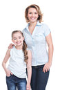 Full portrait of happy mother and young daughter white isolated family people concept Stock Photo