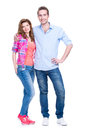 Full portrait of happy young couple isolated on white background Stock Photo