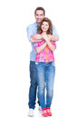 Full portrait of happy young couple isolated on white background Stock Images
