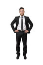 Full portrait of young business man, put his hands on waist, isolated, white background Royalty Free Stock Photo