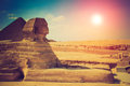 The full profile of the Great Sphinx with the pyramid in the background in Giza. Royalty Free Stock Photo
