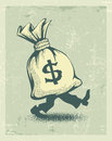 Full sack of money sign dollar with legs walking in retro style eps illustration Stock Photography