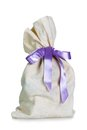 Full sack with ribbon small isolated on white background Stock Images