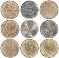 Full set of french francs a and centimes coin isolated on white background Royalty Free Stock Photography