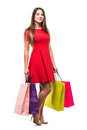 Full size beautiful young woman with bags, shopping concept, isolated on white background