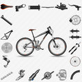 Full suspension mountain bike with parts Royalty Free Stock Image