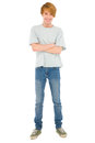 Full teenage boy standing on white background Royalty Free Stock Photos
