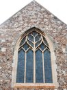 Full view of church window from outside wall Royalty Free Stock Photo