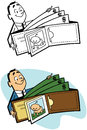 Full wallet a cartoon of a man with a giant of cash Royalty Free Stock Photo