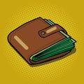 Full wallet with money pop art vector