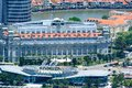 Fullerton Bay Hotel, Singapore, luxury hotel with great history at time of Britsh Colonial Era and modern Fullerton One Building Royalty Free Stock Photo