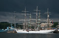 Fullrigger in a harbour norwegian tall ship christian radich moored the of gdynia poland during tall ships race old destroyer as Royalty Free Stock Photo