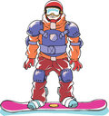 Fully armored snowboarder Royalty Free Stock Photos