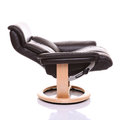 Fully reclined luxurious leather recliner chair. Royalty Free Stock Photo