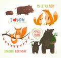 Fumetto forest animals parent con il compleanno del bambino Immagini Stock