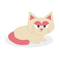 Fumetto sveglio cat isolated on white background Fotografie Stock Libere da Diritti