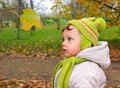 Fun baby looking on yellow leaf on Royalty Free Stock Image
