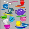 Fun background illustration with cups Stock Images