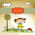 Fun background with little girl Royalty Free Stock Photography