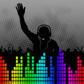 Fun background with silhouette dj Stock Image