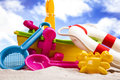 Fun on the beach with a lot of toys Royalty Free Stock Photos