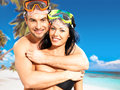 Fun beautiful couple  at tropical beach with swimming mask Stock Images