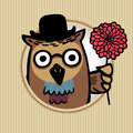 Fun bird intelligent owl in a hat and with flower card of retro style eps Royalty Free Stock Photos