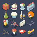 Fun Birthday Party Event Celebrate Night Icons and Symbols Holiday Set 3d Isometric Flat Design Vector Illustration Royalty Free Stock Photo