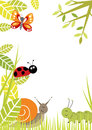 Fun border including butterfly ladybird snail and caterpillar Royalty Free Stock Photos