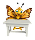 fun Butterfly cartoon character with table and chair Royalty Free Stock Photo
