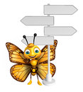 fun Butterfly cartoon character with way sign Royalty Free Stock Photo