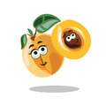 Fun cartoon apricot fruit character with leaf, happy smile mother and child