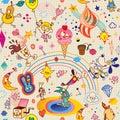 Fun cartoon characters seamless pattern