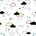 Fun clouds seamless pattern, hand drawn doodles stars, clouds, moon - great for textiles, banners, wallpapers, bed linen - vector