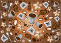 Fun coffee break pattern Stock Images