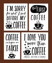Fun Coffee Time Lettering Phrases Vector Set Royalty Free Stock Photo