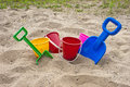 Fun Colorful Children Beach Toys and Sand Royalty Free Stock Photo