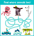 Fun and colorful puzzle game for children's development find where a deer, striped Chipmunk and fish. Training mazes for preschool Royalty Free Stock Photo